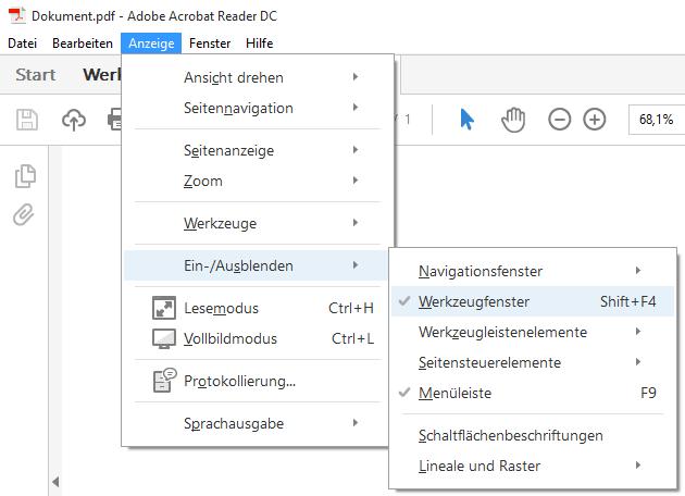 Adobe-Reader Werkzeuge ausblenden