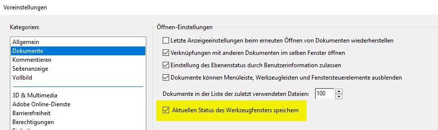 Adobe Reader Werkzeuge ausblenden v2015.023.20053