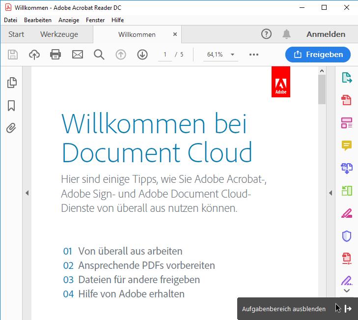 Adobe Acrobat Reader - Auf Symbole verkleinerte Werkzeuge ausblenden - Version 2019.008.2071