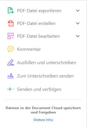 Adobe-Reader Werkzeuge