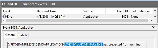 AppLocker: Alternate Data Streams - Execution prevented