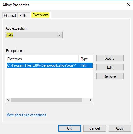 AppLocker Exception: Log Directory
