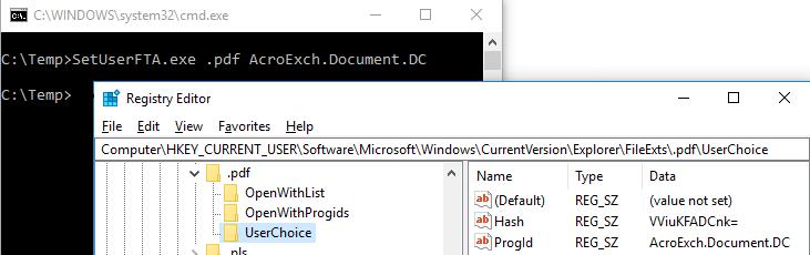 Applikationen mittels SetUserFTA.exe verknüfen: .pdf mit AdobeReader-DC