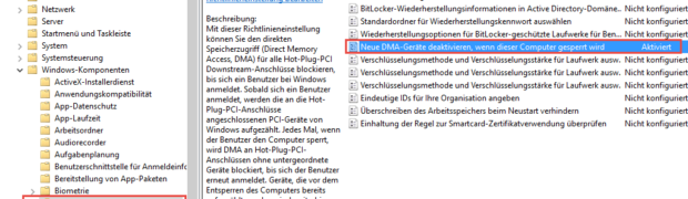 Bitlocker gegen DMA-Angriffe absichern (Win10 Creators Update v1703)