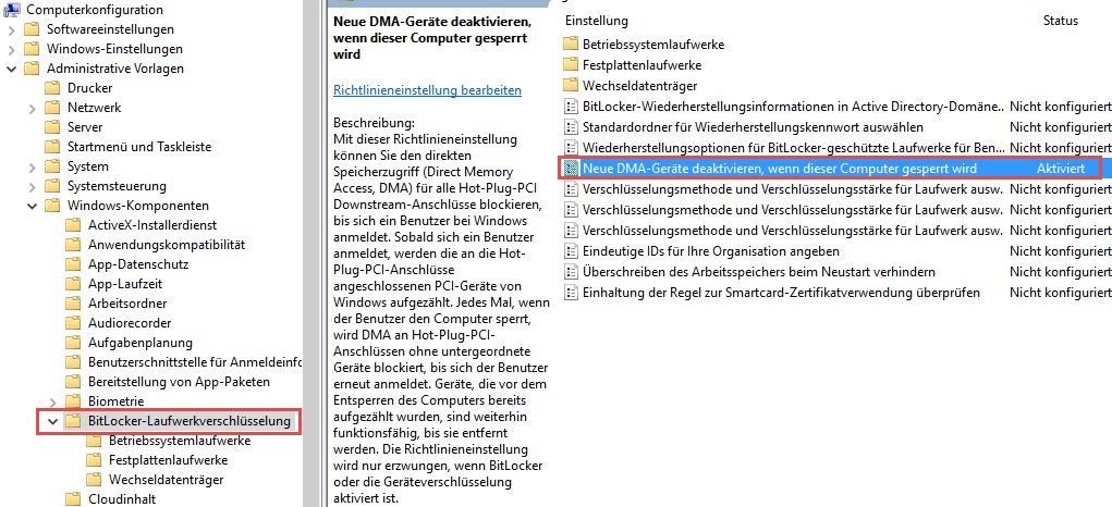 BitLocker DMA-Policy