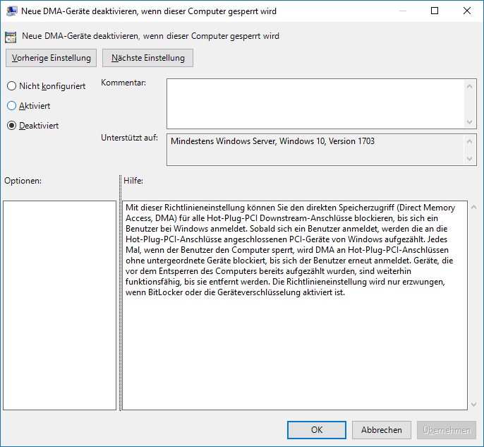 BitLocker DMA Policy (Disabled)