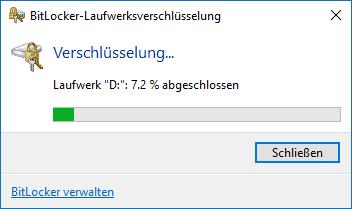 BitLocker Verschlüsselungsvorgang