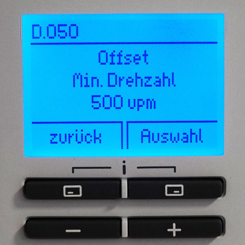 Brennwert-Therme Vaillant Fachhandwerkerebene - Diagnosemenü - D.050 Offset Min. Drehzahl - 500upm