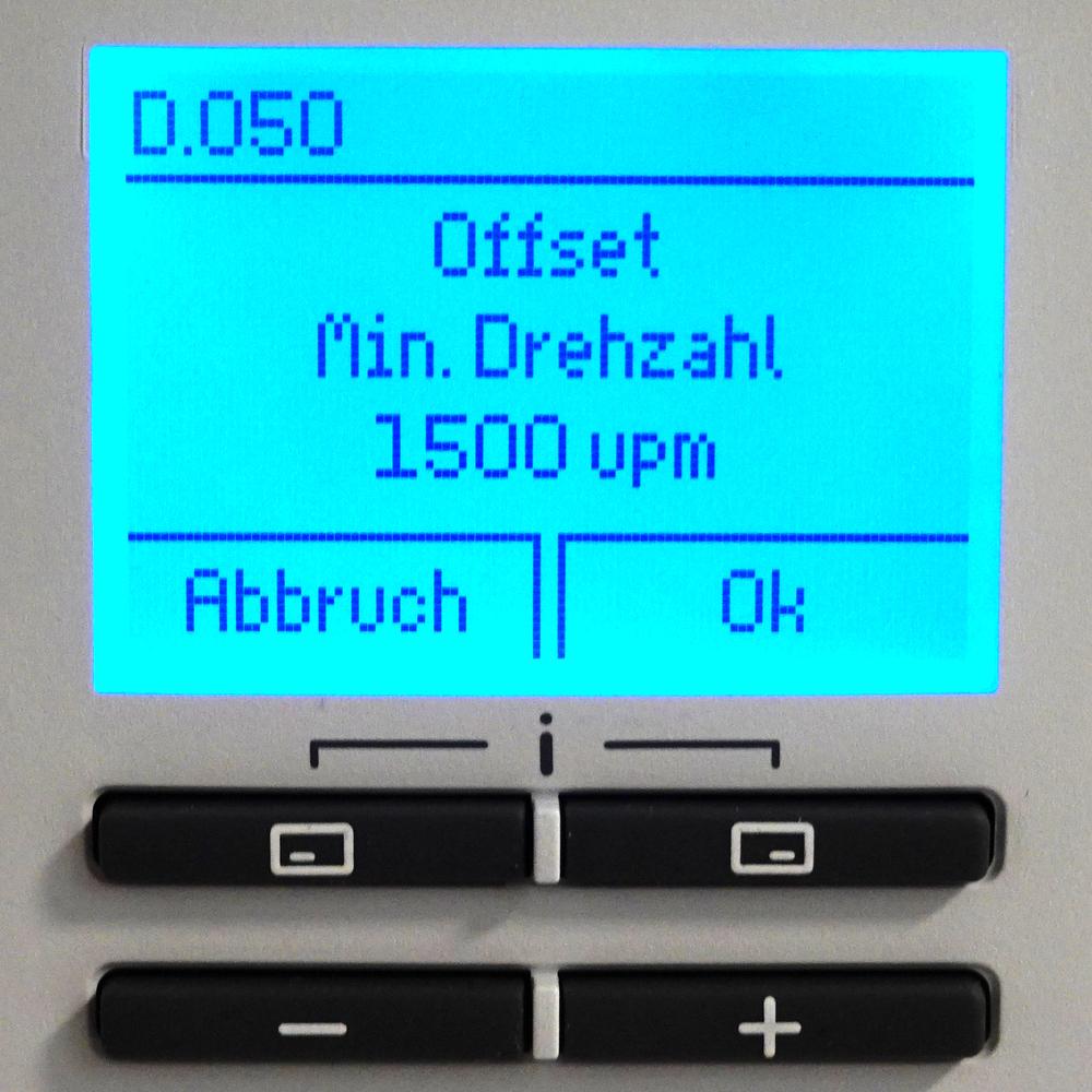 Brennwert-Therme Vaillant Fachhandwerkerebene - Diagnosemenü - D.050 Offset Min. Drehzahl - 1500upm