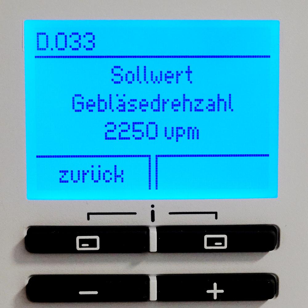 Brennwert-Therme Vaillant Fachhandwerkerebene - Diagnosemenü - D.033 Sollwert Gebläsedrehzahl