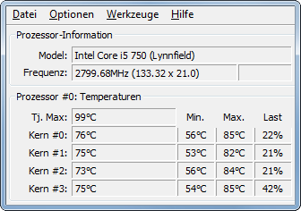 Core Temp - hohe Temperaturen bei moderater CPU-Last