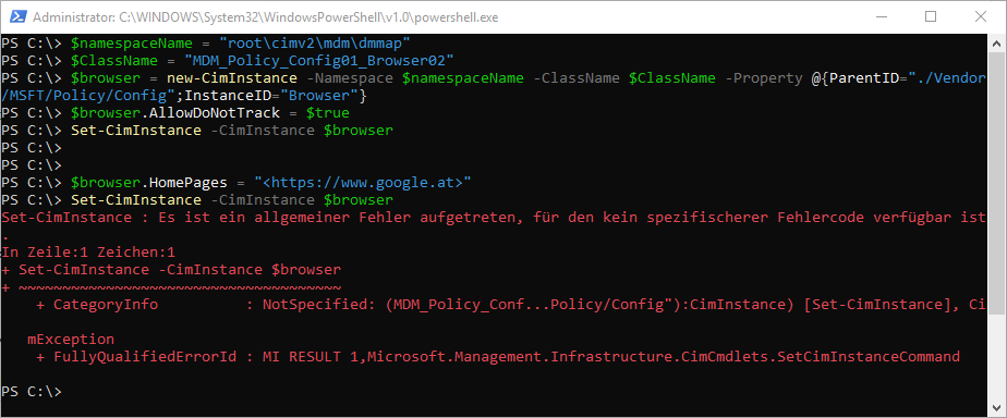 Edge Konfiguration: Powershell MDM-WMI-Bridge-Provider