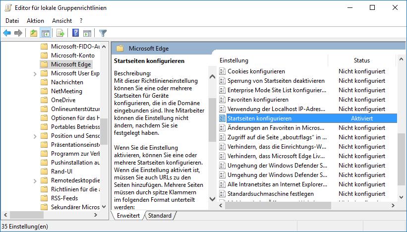 Gruppenrichtlinien Konfiguration von Microsoft Edge