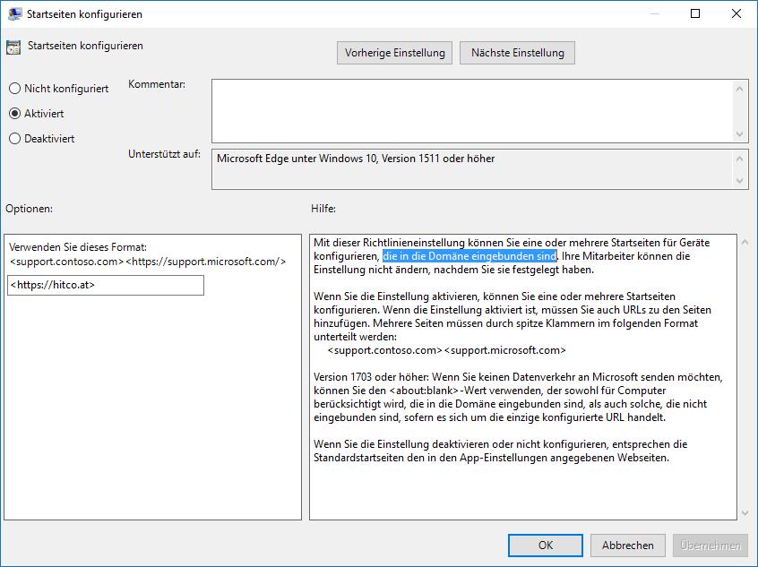 Gruppenrichtlinien: Microsoft Edge Startseite