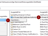 OpenSSL basierte S/MIME-CA importieren