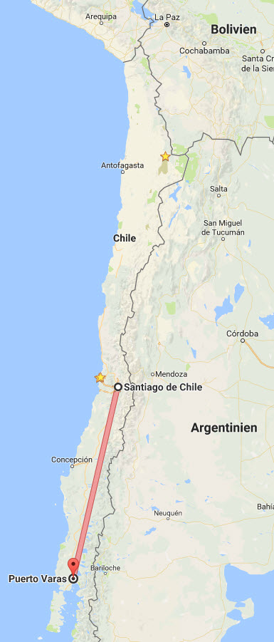 Chile: Santiago nach Puerto Varas