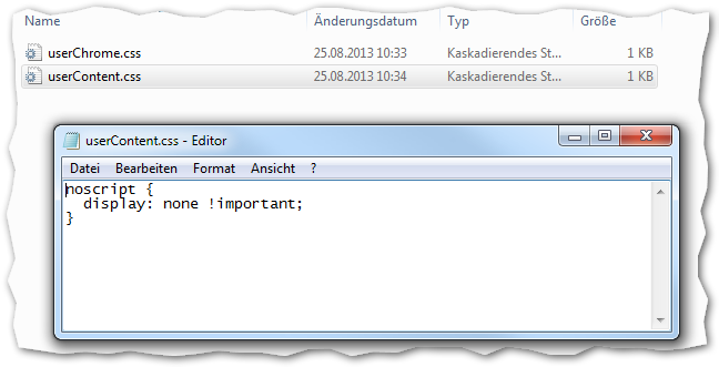 Mozilla Thunderbird Benutzerprofil: chrome/userContent.css