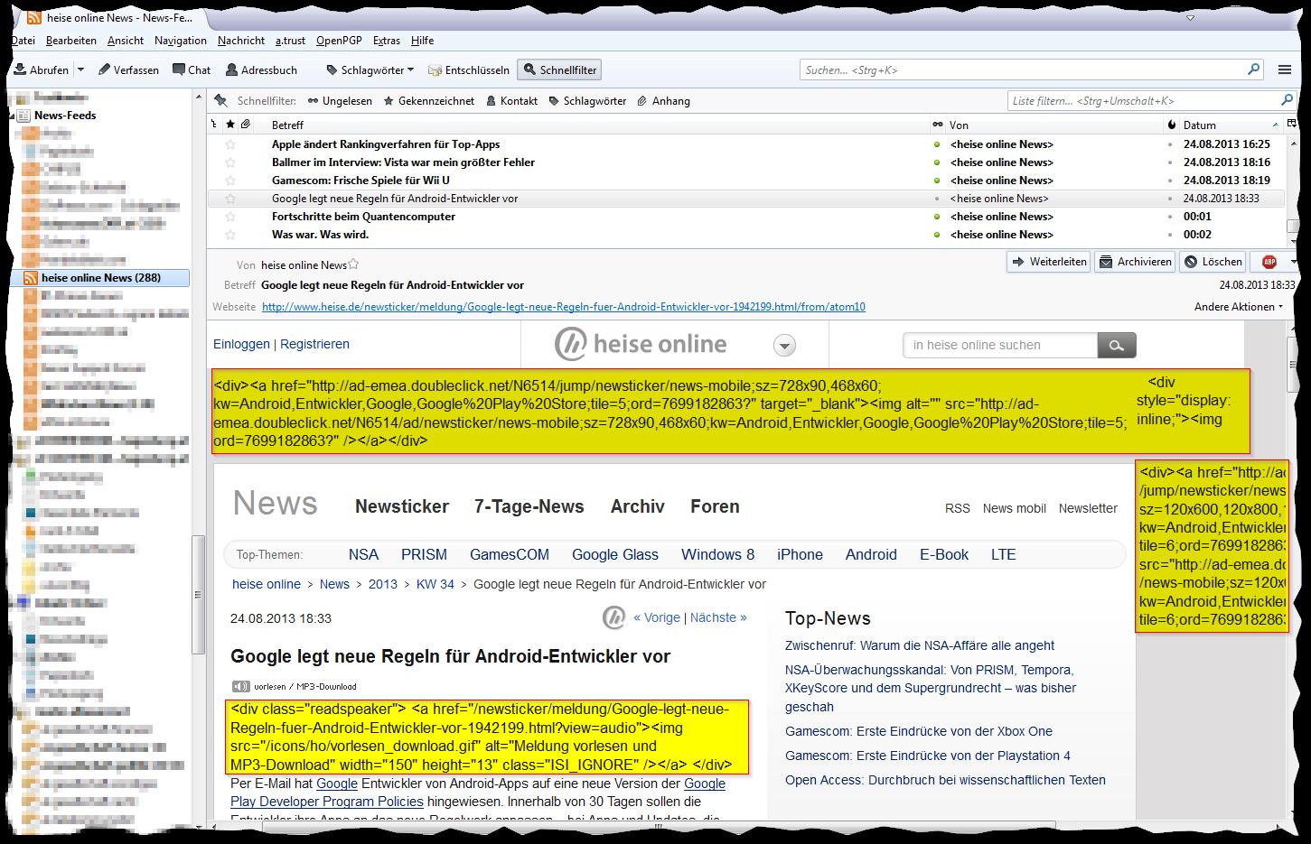 Mozilla Thunderbird: Heise RSS-Feed korrekt darstellen – Gunnar