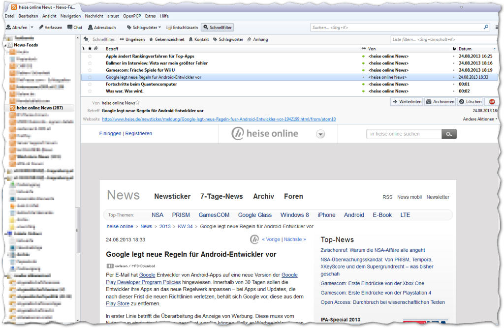 Mozilla Thunderbird - Heise online Newsfeed - OK