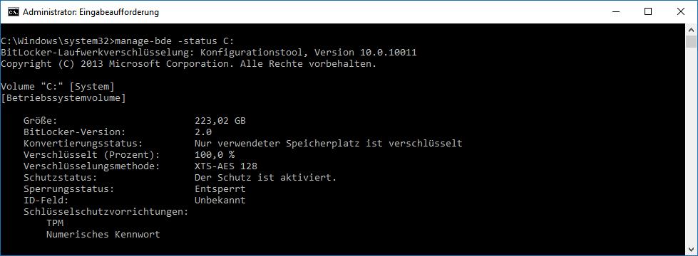 BitLocker TPM geschützte Systempartition