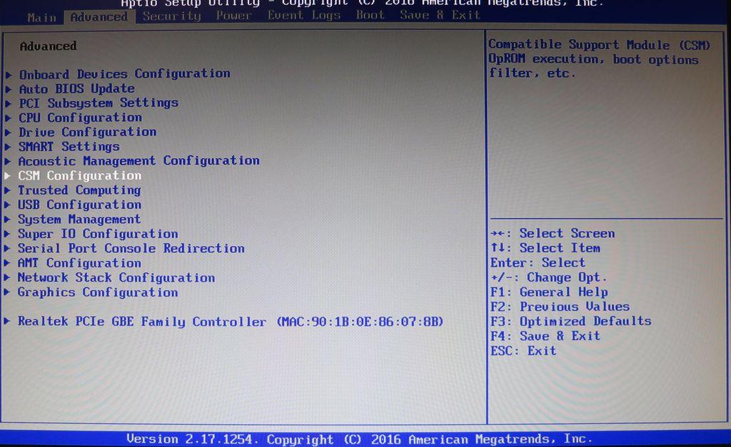 UEFI: CSM deaktivieren (Compatibility Support Module)