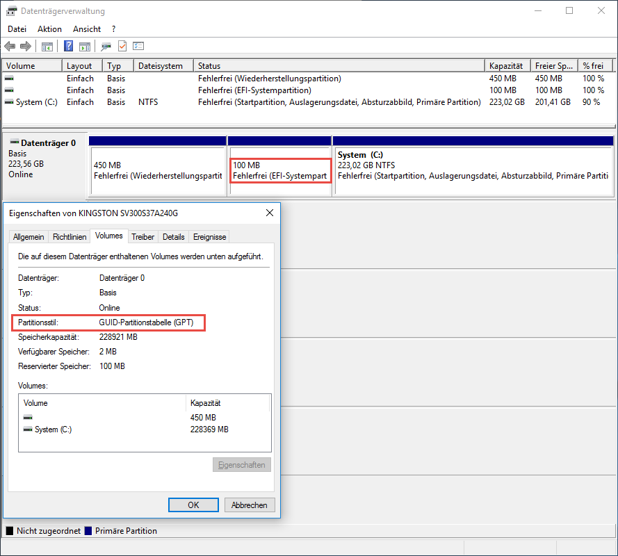 Disk-Layout bei aktiviertem UEFI/SecureBoot mit GPT