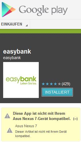 Google PlayStore EasyBank eBanking App