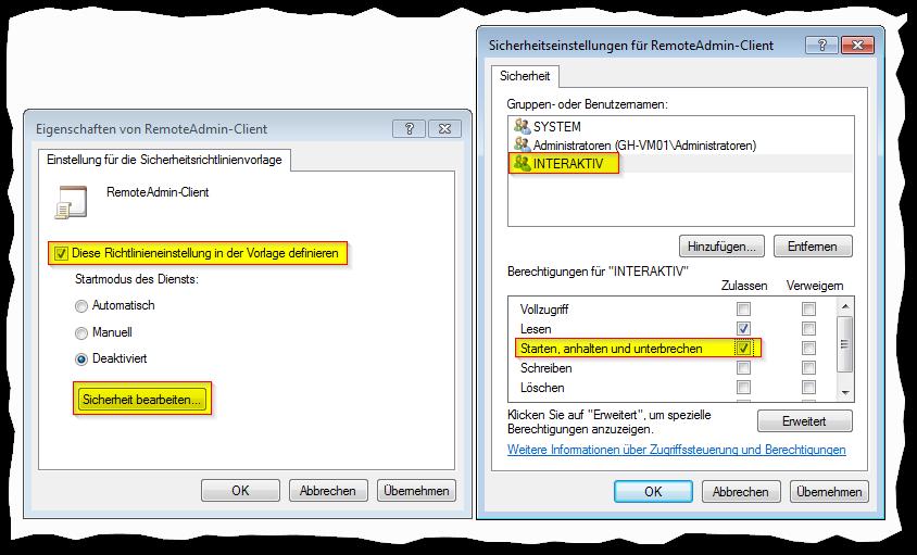 MMC-SnapIn Sicherheitsvorlagen - Sicherheitseinstellungen für Dienst