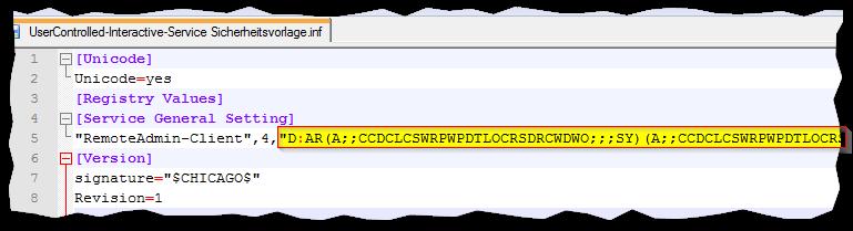 Sicherheitsvorlage - gespeicherte INF-Datei mit Security-Deskriptor