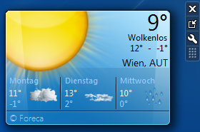 Windows 7 Minianwendung - Wetter
