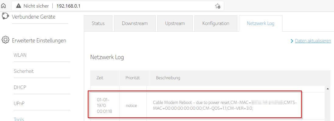Web-Interface Connect-Box CH7465LG-LC